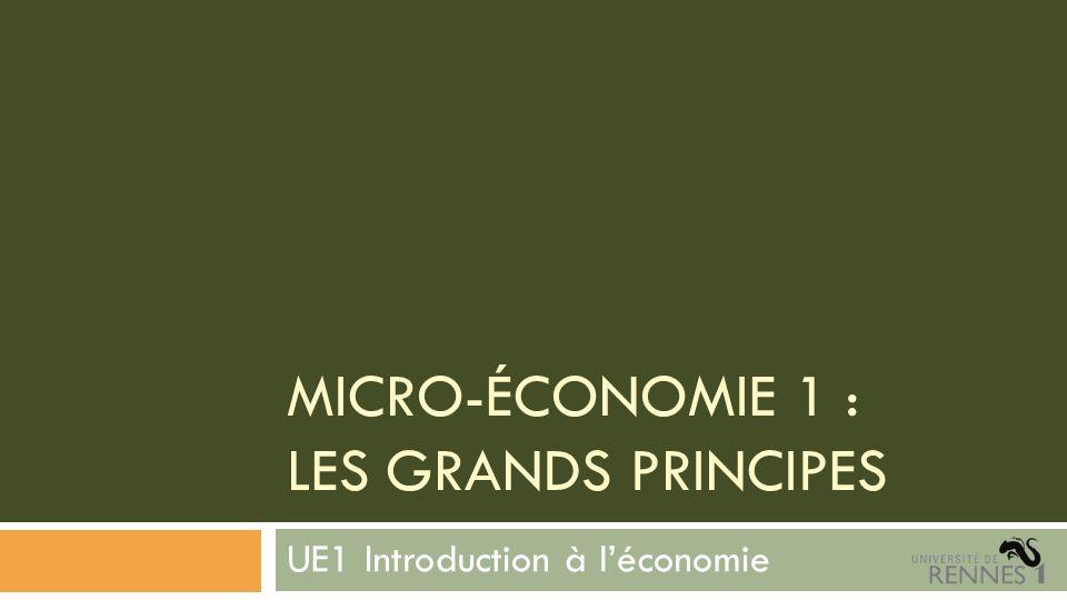 MICRO-ÉCONOMIE 1 : LES GRANDS PRINCIPES UE1 Introduction à léconomie