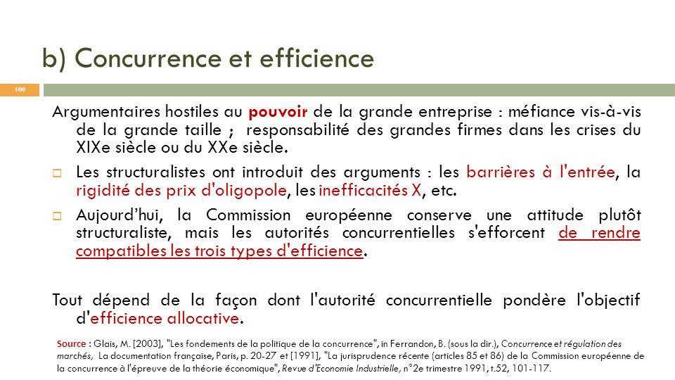 b) Concurrence et efficience Argumentaires hostiles au pouvoir de la grande entreprise : méfiance vis-à-vis de la grande taille ; responsabilité des g