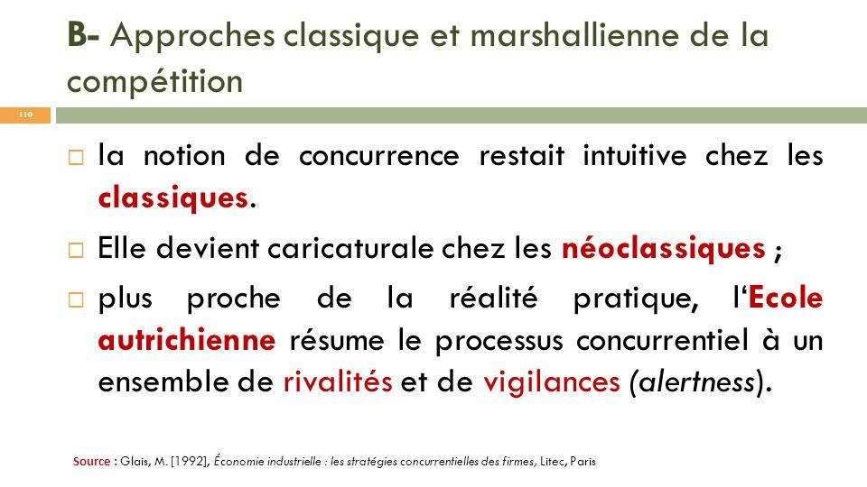 B- Approches classique et marshallienne de la compétition la notion de concurrence restait intuitive chez les classiques. Elle devient caricaturale ch