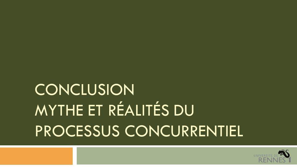CONCLUSION MYTHE ET RÉALITÉS DU PROCESSUS CONCURRENTIEL