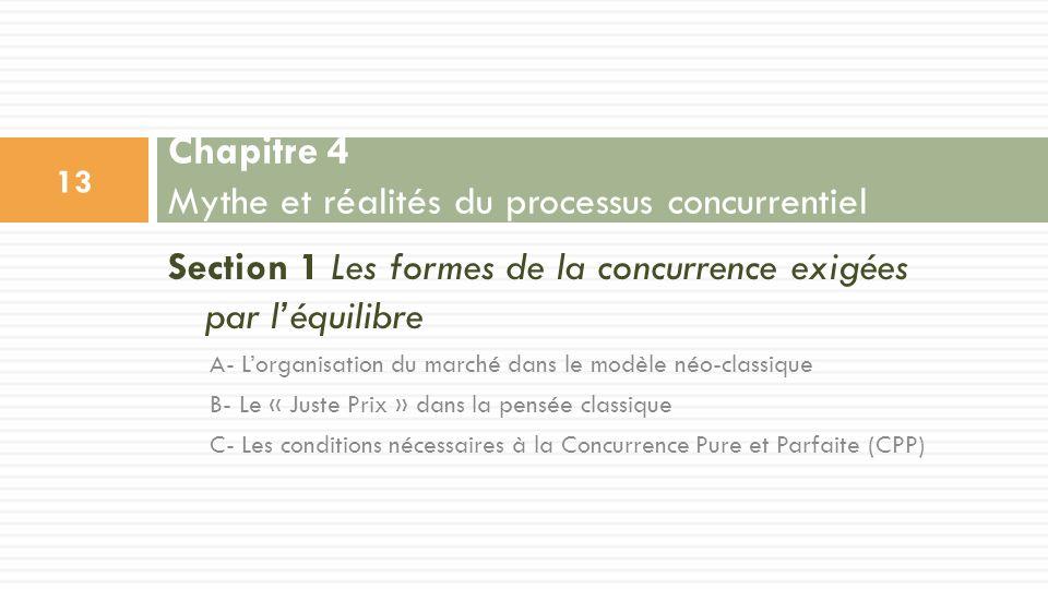 Section 1 Les formes de la concurrence exigées par léquilibre A- Lorganisation du marché dans le modèle néo-classique B- Le « Juste Prix » dans la pen