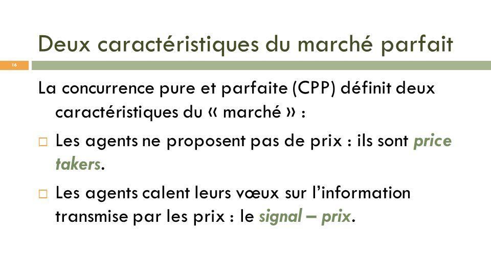 Deux caractéristiques du marché parfait La concurrence pure et parfaite (CPP) définit deux caractéristiques du « marché » : Les agents ne proposent pa