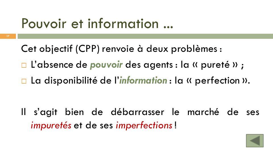 Pouvoir et information... Cet objectif (CPP) renvoie à deux problèmes : Labsence de pouvoir des agents : la « pureté » ; La disponibilité de linformat