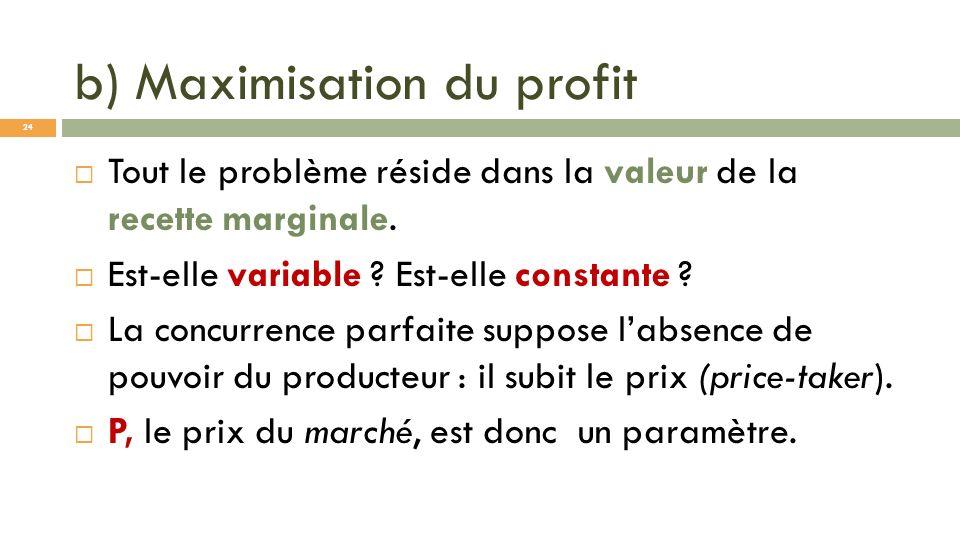 b) Maximisation du profit Tout le problème réside dans la valeur de la recette marginale. Est-elle variable ? Est-elle constante ? La concurrence parf
