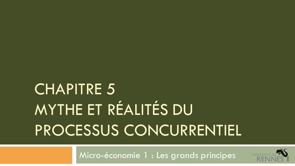 CHAPITRE 5 MYTHE ET RÉALITÉS DU PROCESSUS CONCURRENTIEL Micro-économie 1 : Les grands principes