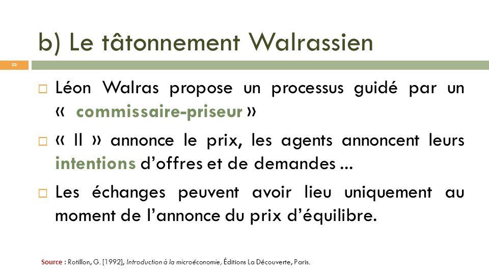 b) Le tâtonnement Walrassien Léon Walras propose un processus guidé par un « commissaire-priseur » « Il » annonce le prix, les agents annoncent leurs