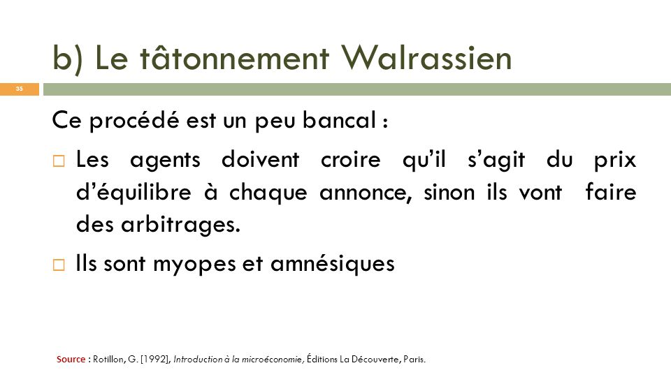 b) Le tâtonnement Walrassien Ce procédé est un peu bancal : Les agents doivent croire quil sagit du prix déquilibre à chaque annonce, sinon ils vont f
