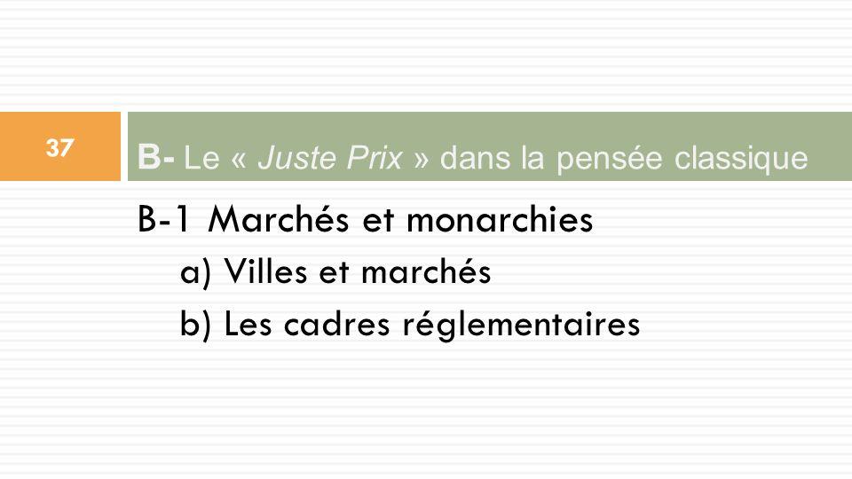 B-1 Marchés et monarchies a) Villes et marchés b) Les cadres réglementaires B- Le « Juste Prix » dans la pensée classique 37