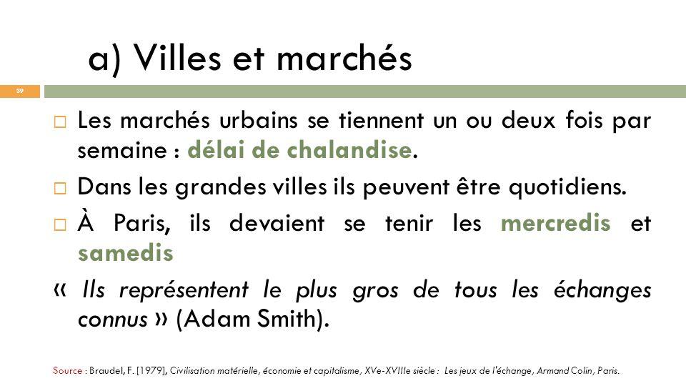 a) Villes et marchés Les marchés urbains se tiennent un ou deux fois par semaine : délai de chalandise. Dans les grandes villes ils peuvent être quoti