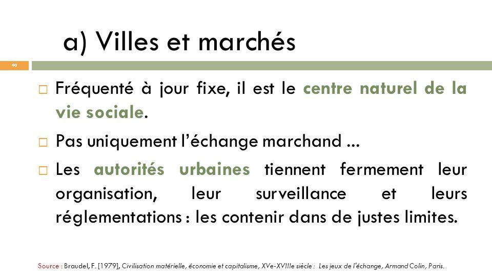 a) Villes et marchés Fréquenté à jour fixe, il est le centre naturel de la vie sociale. Pas uniquement léchange marchand... Les autorités urbaines tie