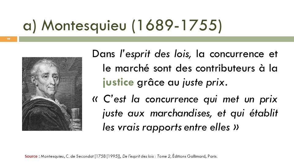a) Montesquieu (1689-1755) Dans lesprit des lois, la concurrence et le marché sont des contributeurs à la justice grâce au juste prix. « Cest la concu
