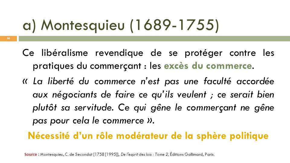 a) Montesquieu (1689-1755) Ce libéralisme revendique de se protéger contre les pratiques du commerçant : les excès du commerce. « La liberté du commer