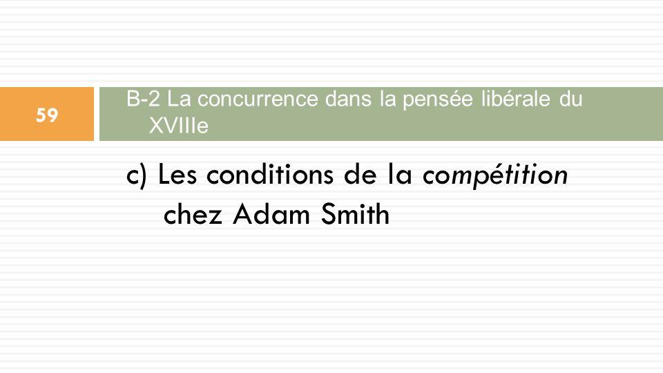 c) Les conditions de la compétition chez Adam Smith B-2 La concurrence dans la pensée libérale du XVIIIe 59