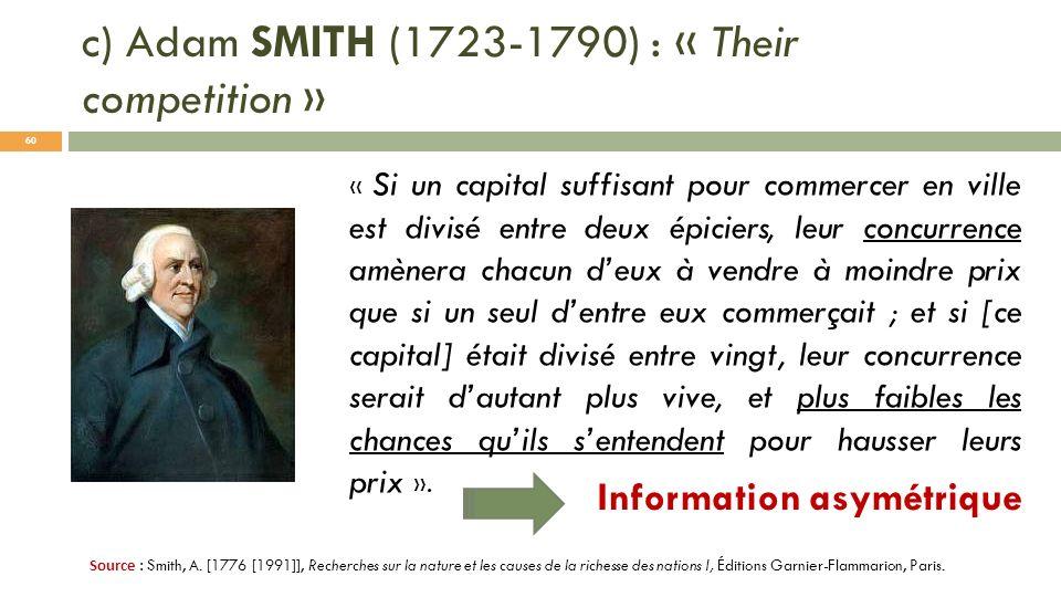 c) Adam SMITH (1723-1790) : « Their competition » Source : Smith, A. [1776 [1991]], Recherches sur la nature et les causes de la richesse des nations