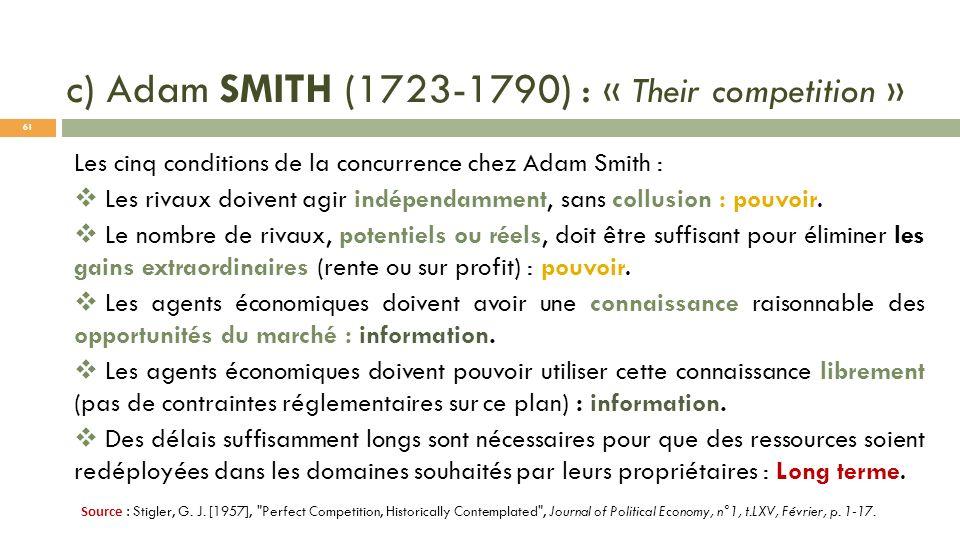 c) Adam SMITH (1723-1790) : « Their competition » Les cinq conditions de la concurrence chez Adam Smith : Les rivaux doivent agir indépendamment, sans