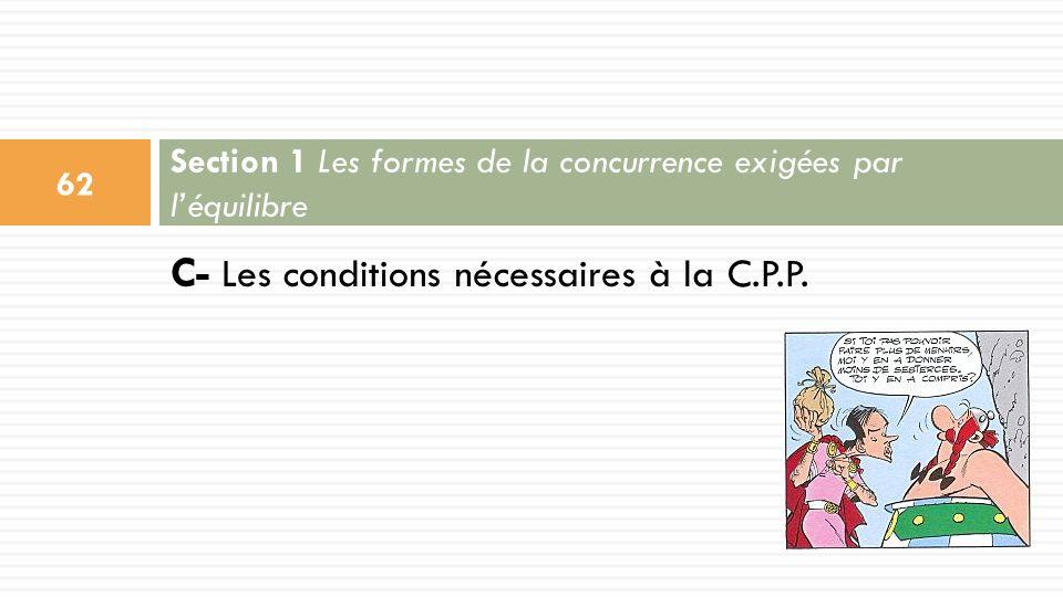 C- Les conditions nécessaires à la C.P.P. Section 1 Les formes de la concurrence exigées par léquilibre 62