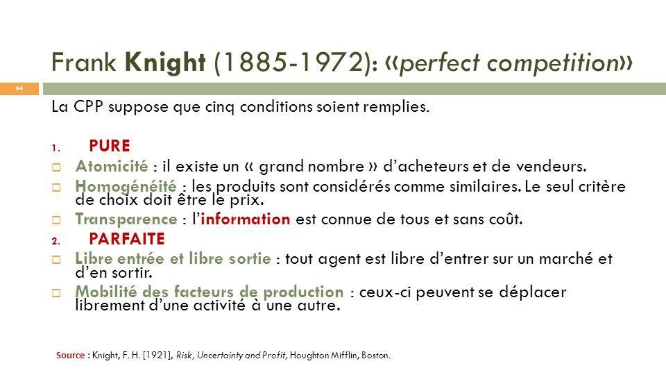 Frank Knight (1885-1972): «perfect competition» La CPP suppose que cinq conditions soient remplies. 1. PURE Atomicité : il existe un « grand nombre »