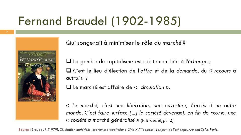 Fernand Braudel (1902-1985) Source : Braudel, F. [1979], Civilisation matérielle, économie et capitalisme, XVe-XVIIIe siècle : Les jeux de l'échange,