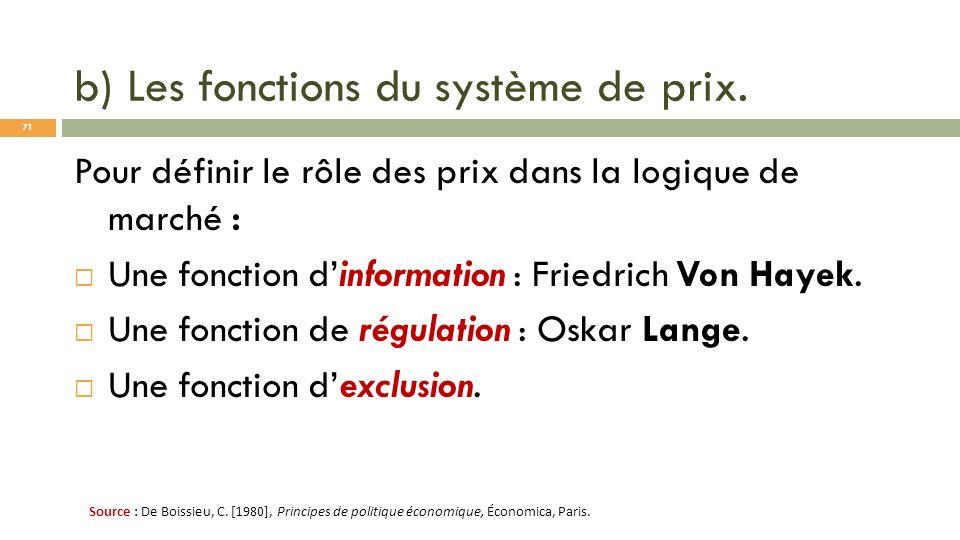 b) Les fonctions du système de prix. Pour définir le rôle des prix dans la logique de marché : Une fonction dinformation : Friedrich Von Hayek. Une fo
