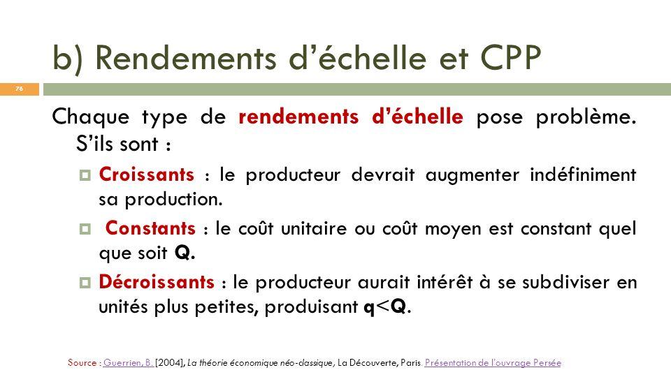 b) Rendements déchelle et CPP Chaque type de rendements déchelle pose problème. Sils sont : Croissants : le producteur devrait augmenter indéfiniment