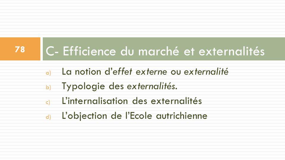 a) La notion deffet externe ou externalité b) Typologie des externalités. c) Linternalisation des externalités d) Lobjection de lEcole autrichienne C-