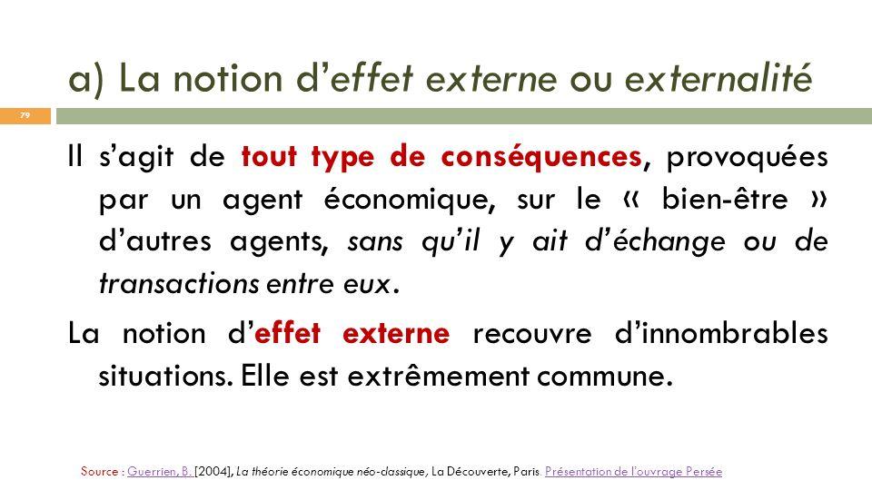 a) La notion deffet externe ou externalité Il sagit de tout type de conséquences, provoquées par un agent économique, sur le « bien-être » dautres age