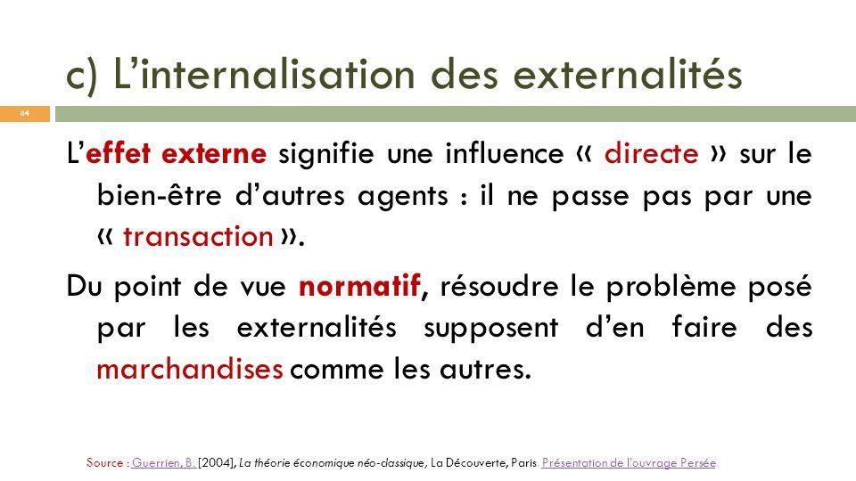 c) Linternalisation des externalités Leffet externe signifie une influence « directe » sur le bien-être dautres agents : il ne passe pas par une « tra