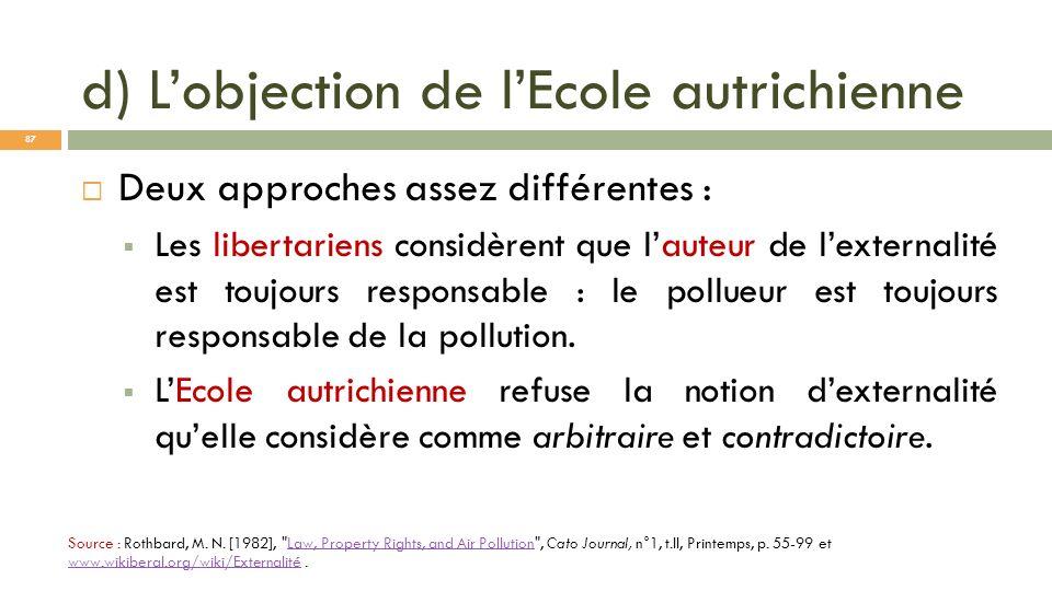 d) Lobjection de lEcole autrichienne Source : Rothbard, M. N. [1982],