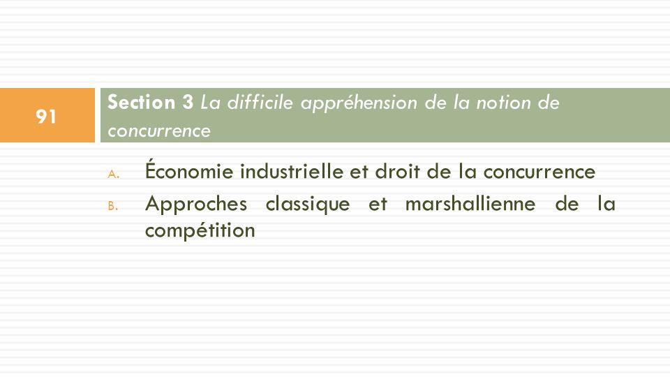 A. Économie industrielle et droit de la concurrence B. Approches classique et marshallienne de la compétition Section 3 La difficile appréhension de l