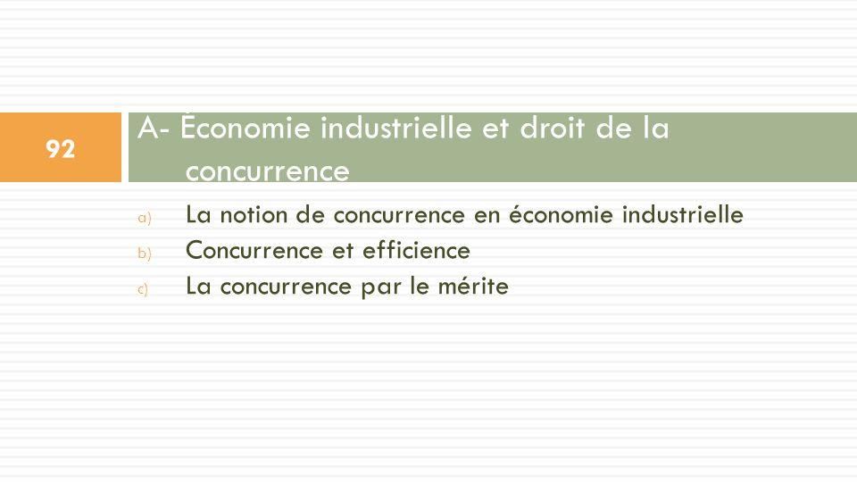 a) La notion de concurrence en économie industrielle b) Concurrence et efficience c) La concurrence par le mérite A- Économie industrielle et droit de