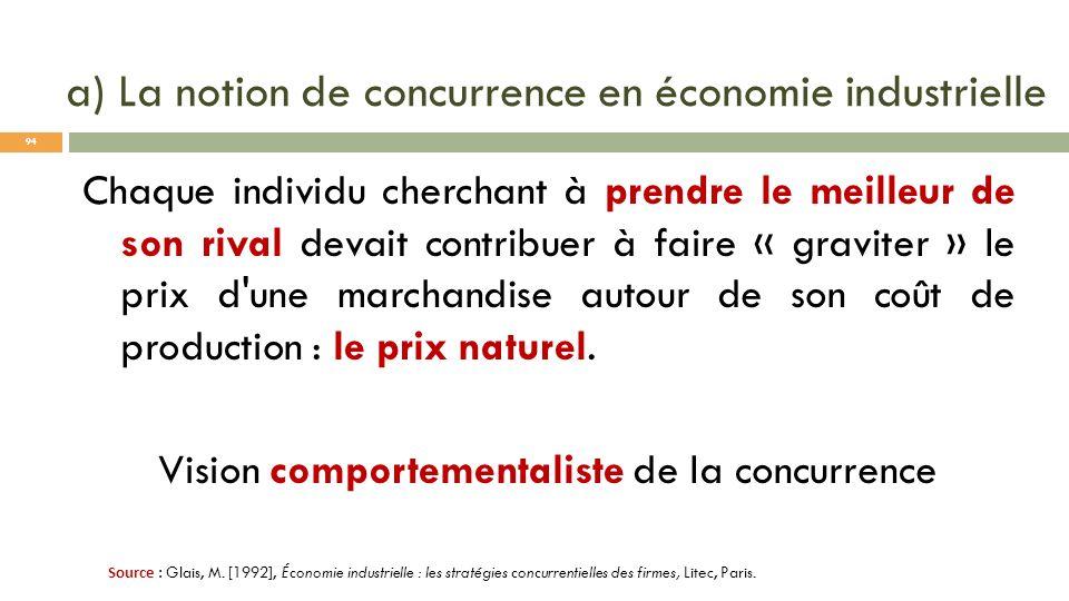 a) La notion de concurrence en économie industrielle Chaque individu cherchant à prendre le meilleur de son rival devait contribuer à faire « graviter
