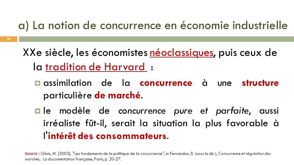 a) La notion de concurrence en économie industrielle XXe siècle, les économistes néoclassiques, puis ceux de la tradition de Harvard : assimilation de