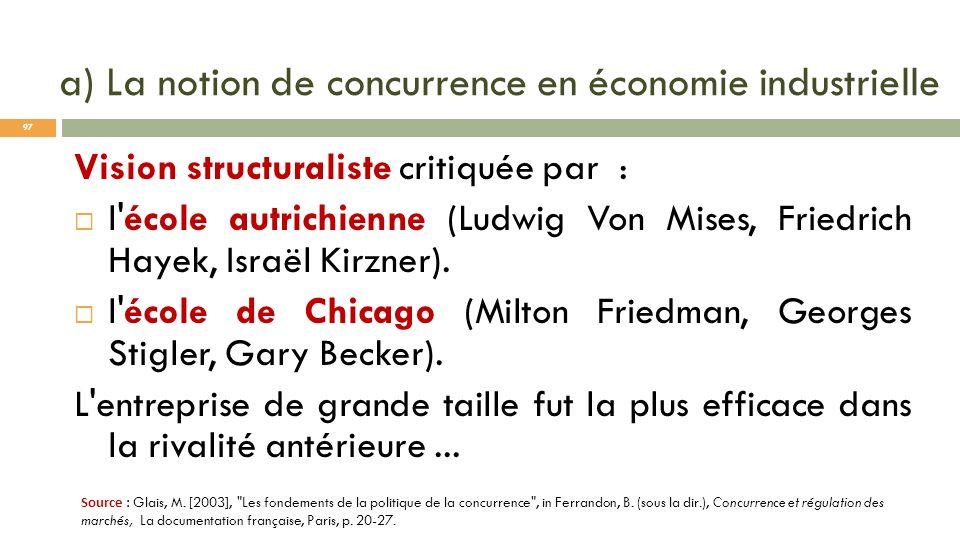 a) La notion de concurrence en économie industrielle Vision structuraliste critiquée par : l'école autrichienne (Ludwig Von Mises, Friedrich Hayek, Is