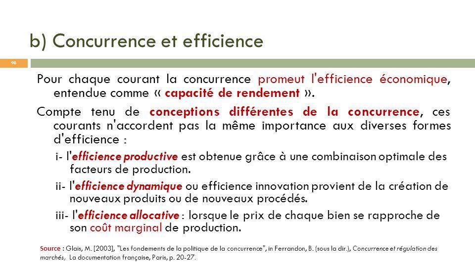 b) Concurrence et efficience Pour chaque courant la concurrence promeut l'efficience économique, entendue comme « capacité de rendement ». Compte tenu