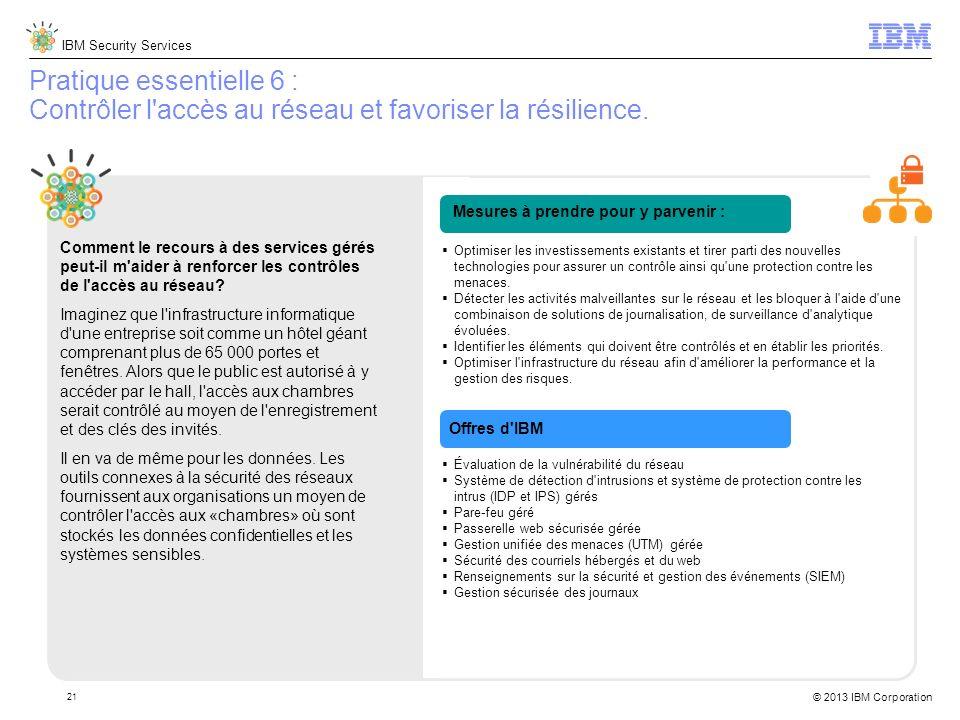 IBM Security Services © 2013 IBM Corporation 21 Pratique essentielle 6 : Contrôler l accès au réseau et favoriser la résilience.