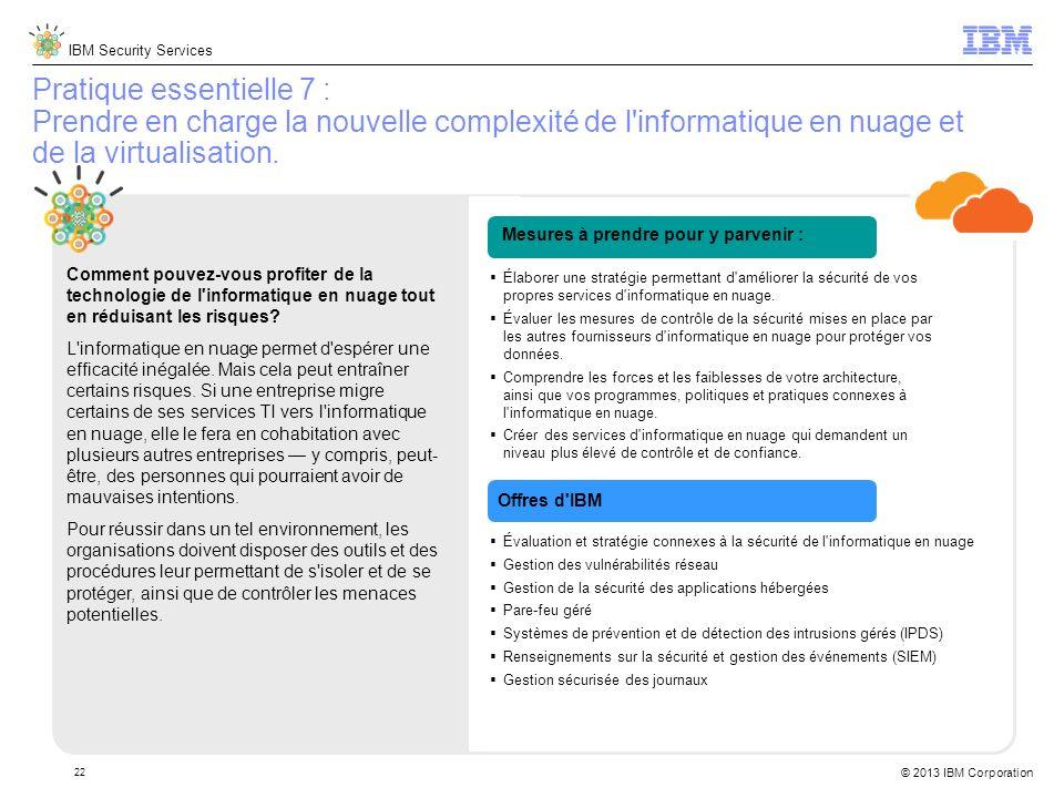IBM Security Services © 2013 IBM Corporation 22 Pratique essentielle 7 : Prendre en charge la nouvelle complexité de l informatique en nuage et de la virtualisation.