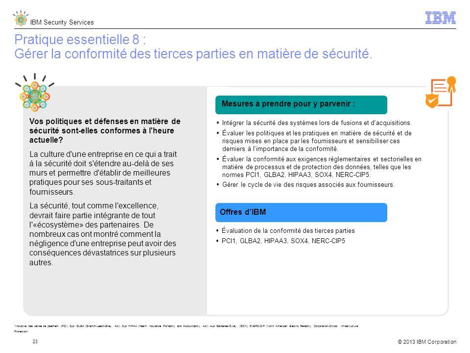 IBM Security Services © 2013 IBM Corporation 23 Pratique essentielle 8 : Gérer la conformité des tierces parties en matière de sécurité.