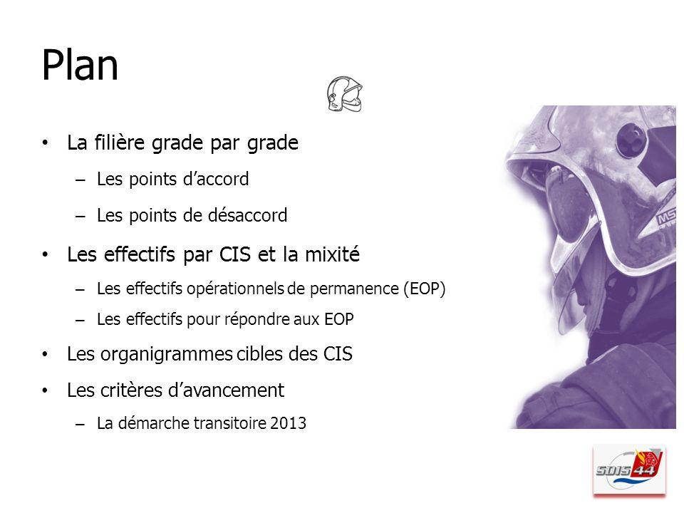 Plan La filière grade par grade – Les points daccord – Les points de désaccord Les effectifs par CIS et la mixité – Les effectifs opérationnels de per