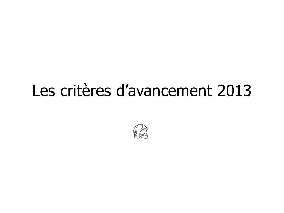 Les critères davancement 2013