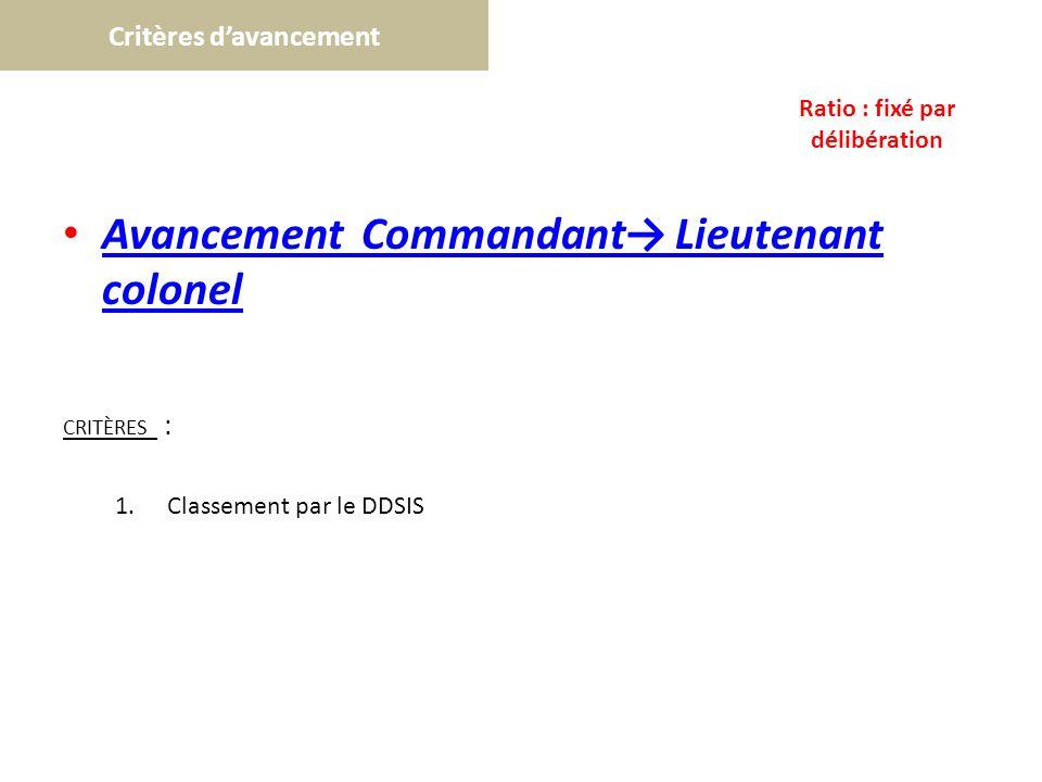 Critères davancement Avancement Commandant Lieutenant colonel Avancement Commandant Lieutenant colonel CRITÈRES : 1.Classement par le DDSIS Ratio : fi