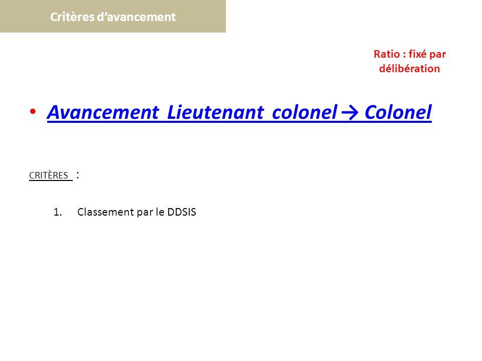 Critères davancement Avancement Lieutenant colonel Colonel CRITÈRES : 1.Classement par le DDSIS Ratio : fixé par délibération