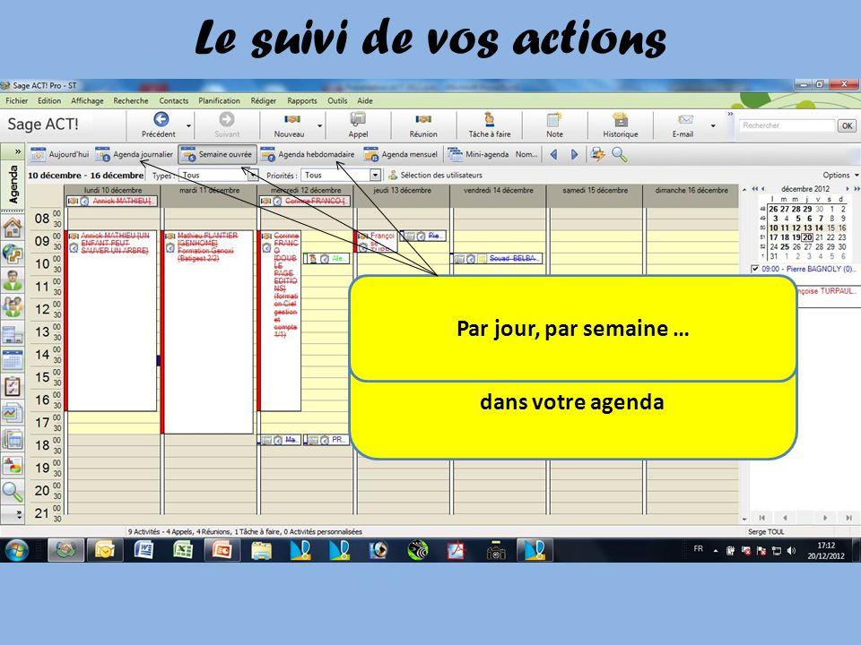 Le suivi de vos actions Vous pouvez également visualiser vos actions dans votre agenda Par jour, par semaine …