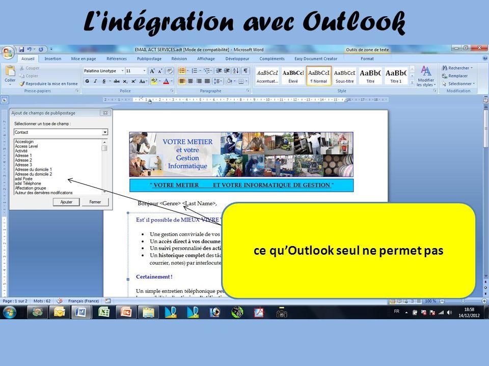 Lintégration avec Outlook Les emails envoyés avec ACT peuvent être personnalisés ce quOutlook seul ne permet pas