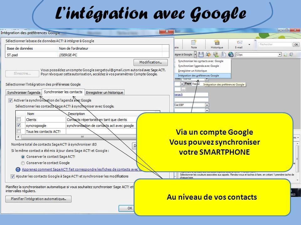 Lintégration avec Google Via un compte Google Vous pouvez synchroniser votre SMARTPHONE Au niveau de votre agendaAu niveau de vos contacts