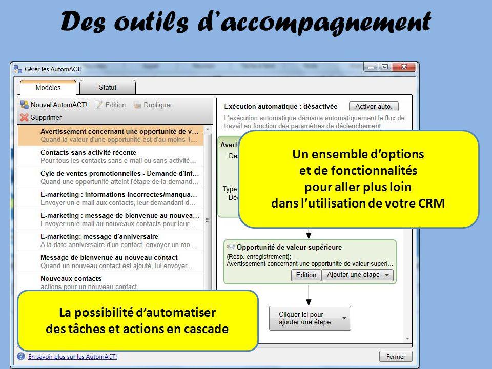 Des outils daccompagnement La possibilité dautomatiser des tâches et actions en cascade Un ensemble doptions et de fonctionnalités pour aller plus loi