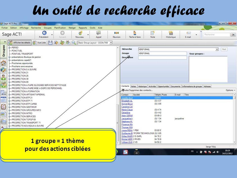 Selon des critères choisis vous pouvez affecter vos contacts à des groupes 1 groupe = 1 thème pour des actions ciblées