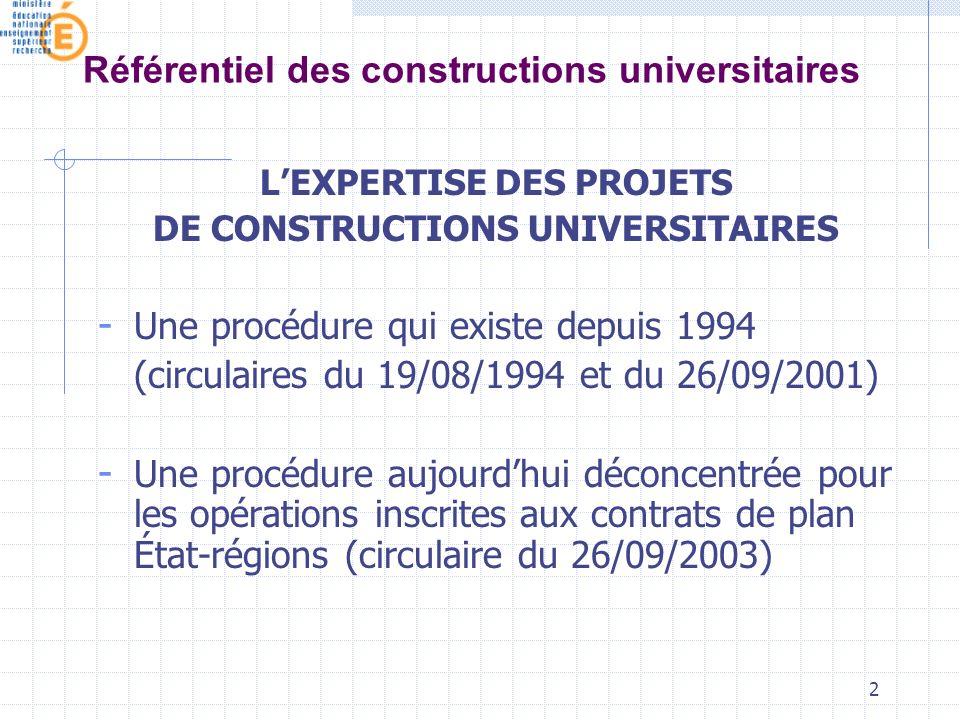 2 Référentiel des constructions universitaires LEXPERTISE DES PROJETS DE CONSTRUCTIONS UNIVERSITAIRES - Une procédure qui existe depuis 1994 (circulaires du 19/08/1994 et du 26/09/2001) - Une procédure aujourdhui déconcentrée pour les opérations inscrites aux contrats de plan État-régions (circulaire du 26/09/2003)