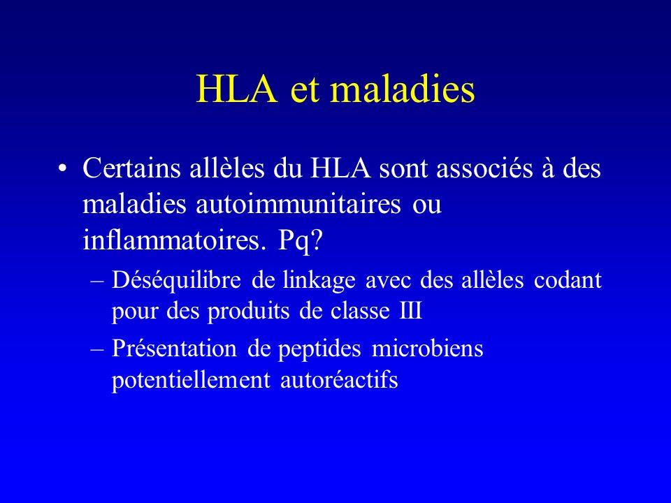 HLA et maladies Certains allèles du HLA sont associés à des maladies autoimmunitaires ou inflammatoires. Pq? –Déséquilibre de linkage avec des allèles