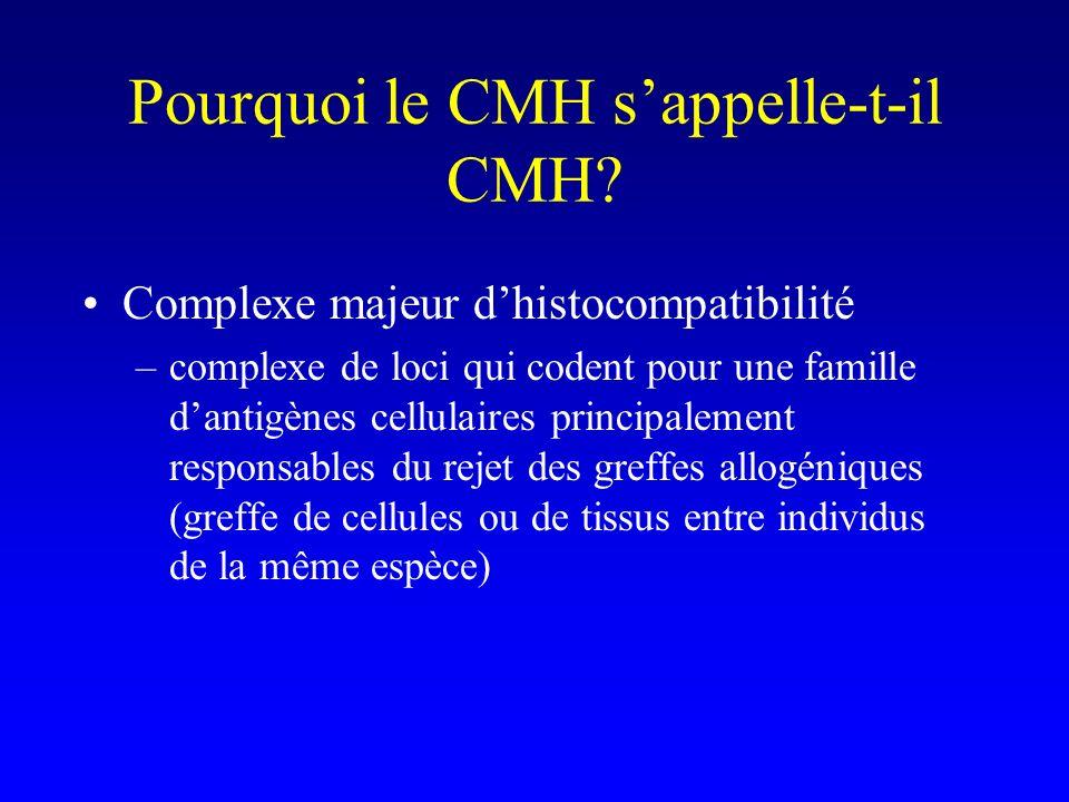 Pourquoi le CMH sappelle-t-il CMH? Complexe majeur dhistocompatibilité –complexe de loci qui codent pour une famille dantigènes cellulaires principale