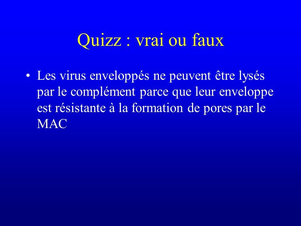 Quizz : vrai ou faux Les virus enveloppés ne peuvent être lysés par le complément parce que leur enveloppe est résistante à la formation de pores par